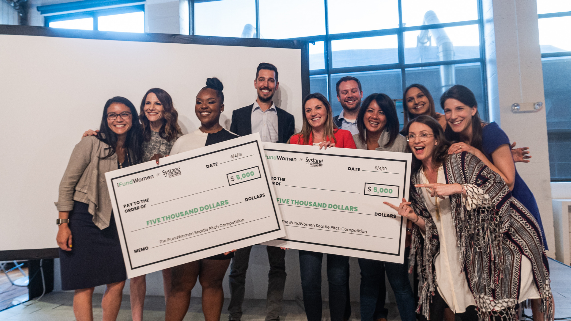 The Judges, iFundWomen team and the winners of the iFundWomen Seattle Pitch Competition: Dr. Cheryl Ingram, Founder & CEO,  Diverse City LLC  & Sarah Haggard, Founder & CEO,  Tribute .