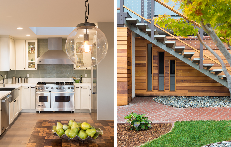 Custom kitchen, stair, fuse wood siding