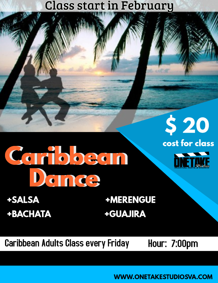 Caribbean Dance Classes start in February 2, 2018.   Take advantage of our offers for this unique class and enjoy a variety of Caribbean Styles in one Class.  With or without experience you are welcome. *Any level*  Click  here below  to register.