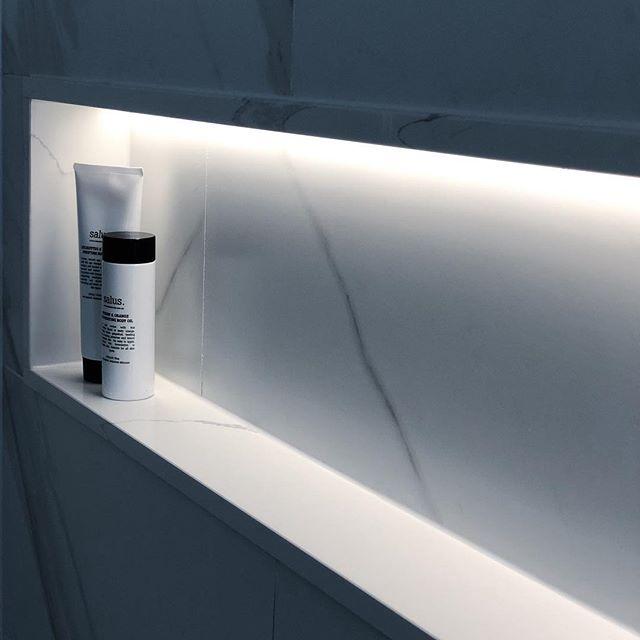 Custom lighting design ✨ . . . #lighting  #showerniche #bathroom #bathroomdesign #light #showerdesign #renovation #tiles #tileshower #interiordesignideas #led #stone #white #custom #luxuryhomes