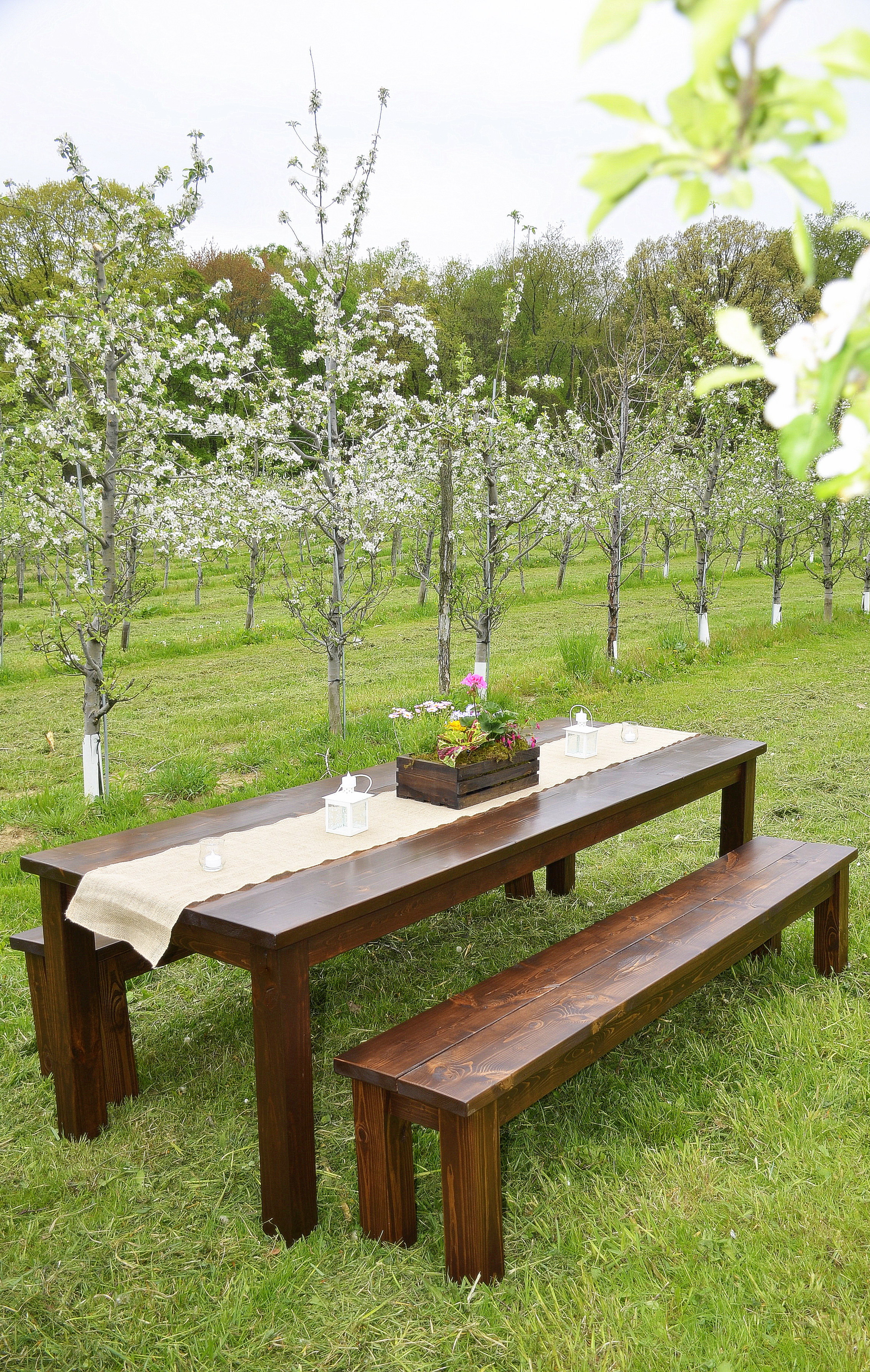Penn Rustics Rentals - Apple Orchard Wedding Solid Wood Farmhouse Tables, Cocktail Tables, Sweetheart Tables, Wood Ceremony Bench for rent Pittsburgh