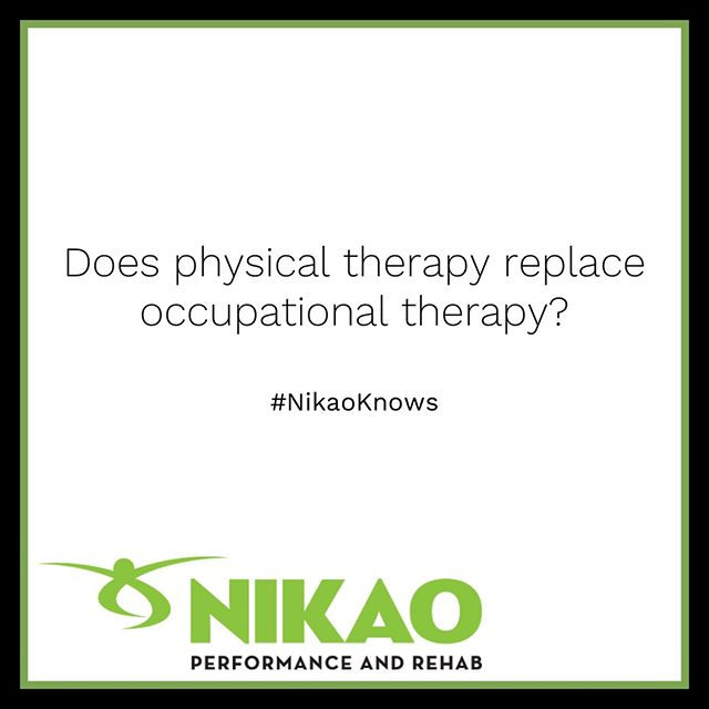 There is a lot of overlap between the profession of Physical Therapy and Occupational Therapy.  You can think of Physical Therapy as the profession that helps you move better with the focus on walking, climbing stairs, returning to sports, and reducing pain to improve your overall functional movements.  Occupation therapy will help you to recover activities of daily life or focus on tasks of an occupation. For example, your ability to use a toothbrush, brush hair, answer the phone, or write.  Some Occupational Therapists may cover much of what Physical Therapists do and vice versa, but a general rule of thumb is bigger movement based activities versus smaller task-related activities. #NikaoKnows  For more wellness tips and education, click the link above to visit our website and subscribe to the blog. Be informed! Stay connected! ... #nikaoperformanceandrehab #physicaltherapy #exercise #azphysicaltherapist #physicalactivity  #healthcare #physicalhealth #qualitycare #occupationaltherapy