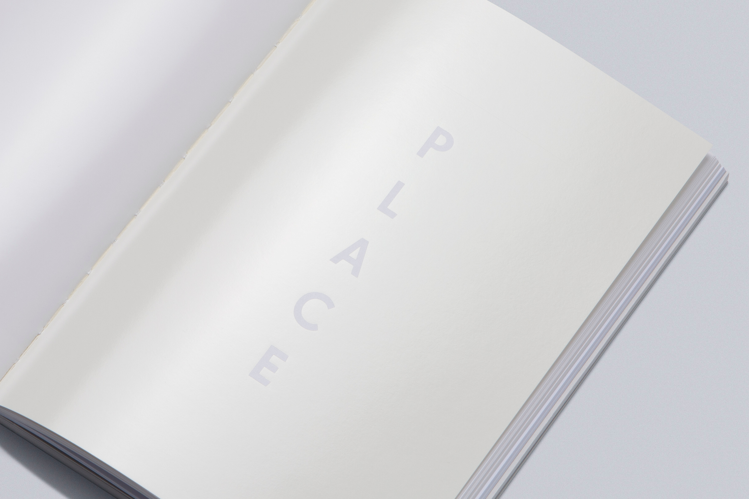 PLACE –INTRODUCTION & VAST EXPANSE  Overall Gloss White Foil with text reversed out on Mohawk Superfine Smooth Ultra White 148 gsm.