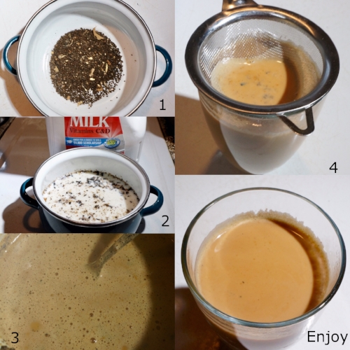 Picture above shows how to brew Masala Chai in a traditional way.  Click to view product.