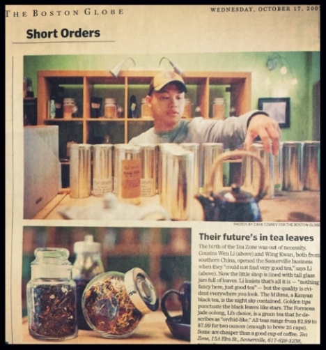 Tea Zone, a tea shop owned and operated by Wen and his cousin was featured in Boston Globe in 2007