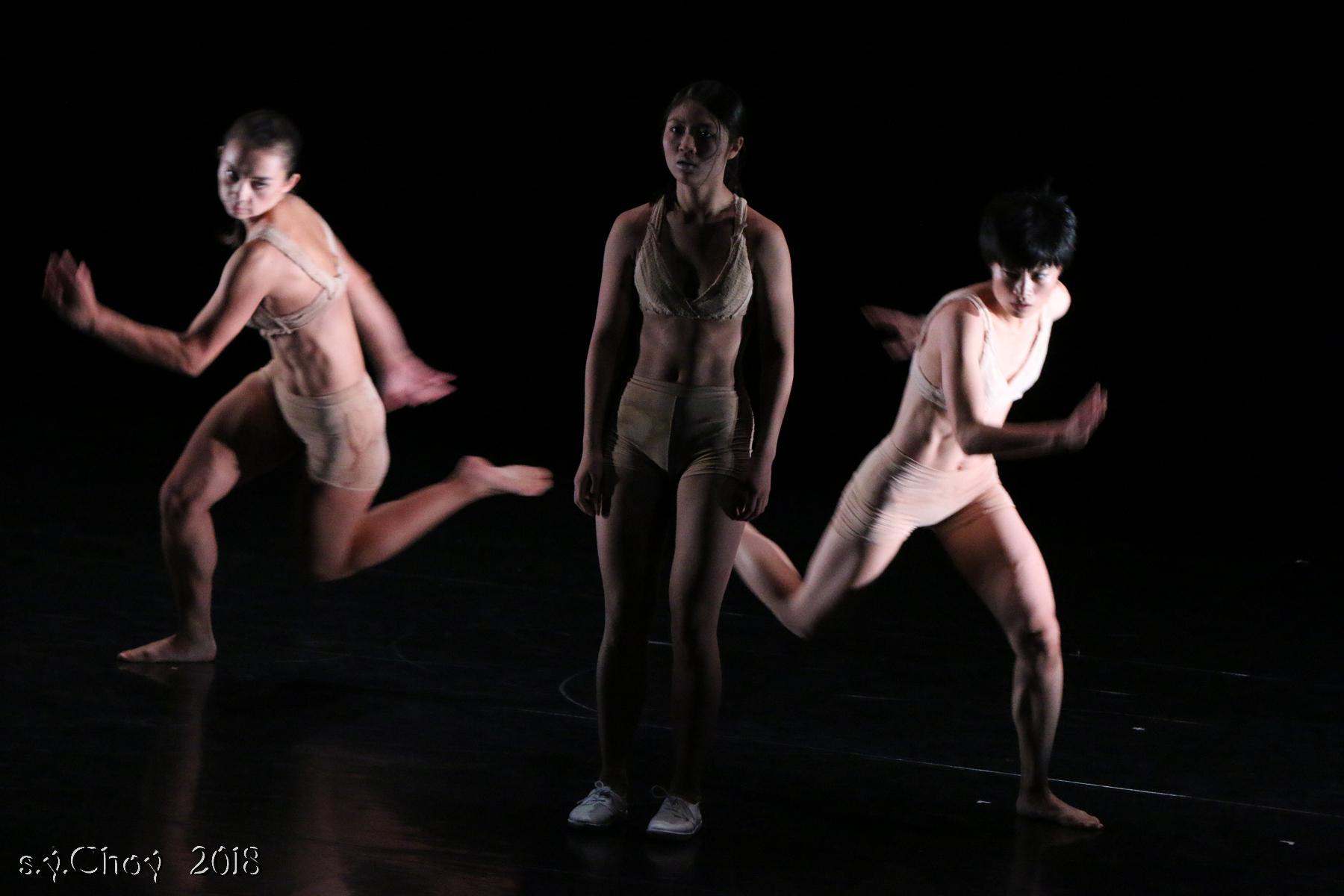 Jasmine Chiu, Sylvie Cox, Sarah Xiao in 'human chromosome #2'  3rd Hong Kong Choreography Festival 2018