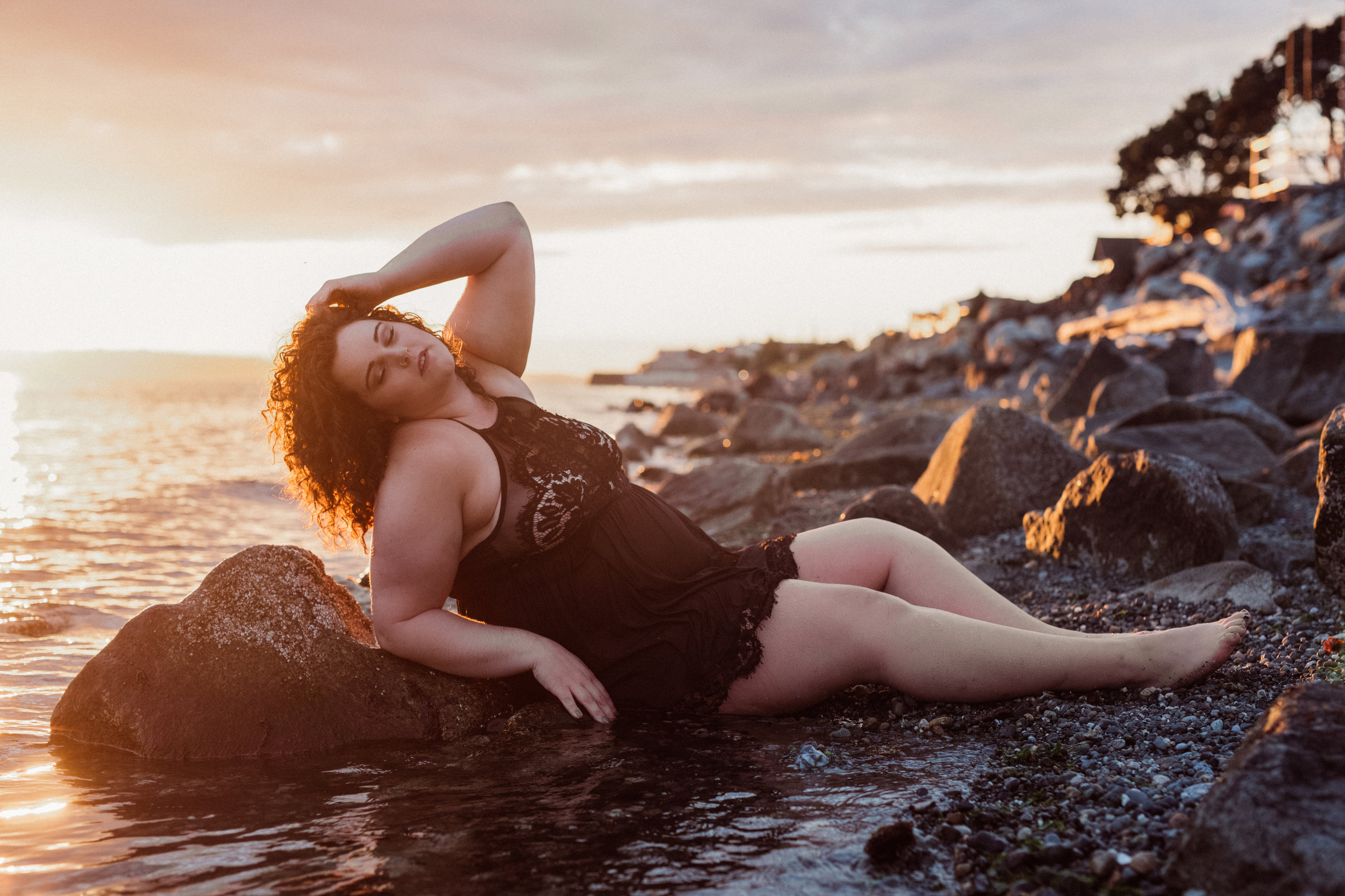"""- """"It was so dope to go out in the ocean in lingerie, especially as a fat woman / larger body. Amy made me feel so comfortable, sexy & powerful! I honestly would recommend it for anyone. She had a brilliant way of both directing me on what to do & also affirming that I looked hot af.Plus after seeing the pictures I was totally relishing in how sexy I look! It was so much fun.""""Hair and makeup styling by Kat St. John"""