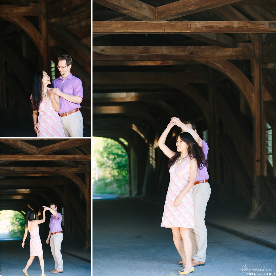 Dancing on a covered bridge