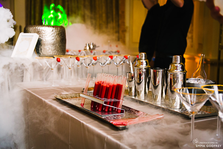 Test tube cocktail shots and cocktail buffet with dry ice
