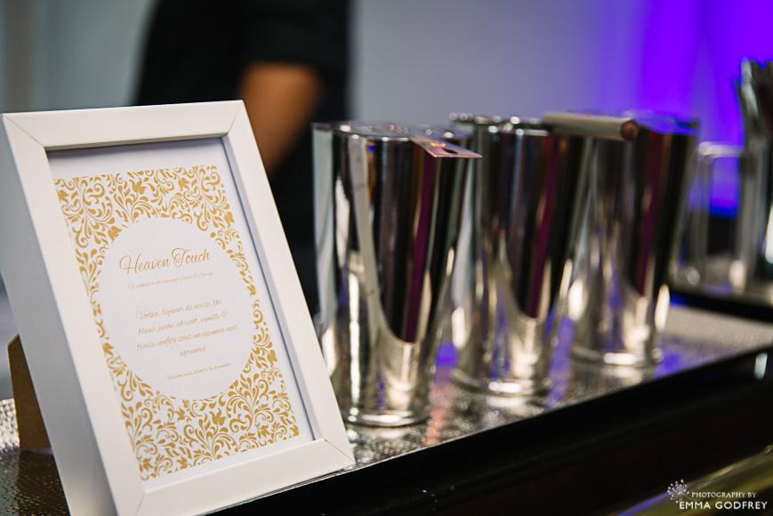 Signature cocktail menu and shakers