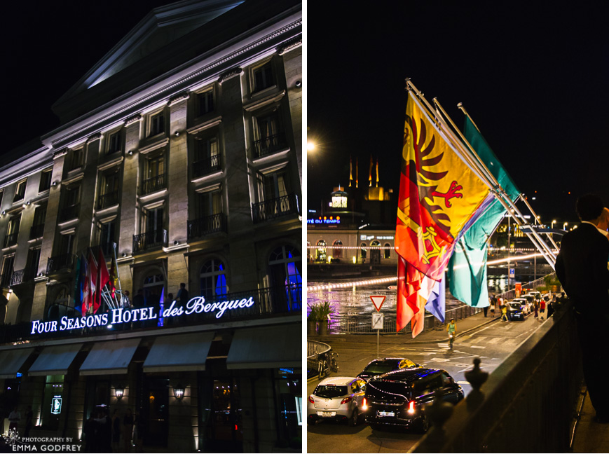 Four Seasons des Bergs at night with flags