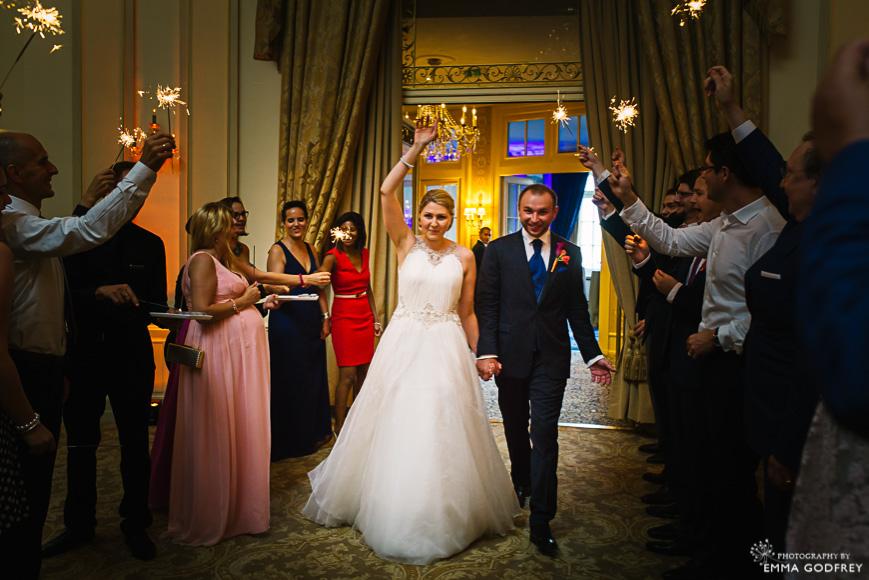 Sparkler entrance by bride and groom