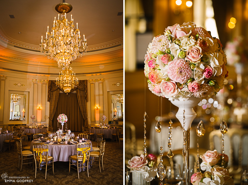 Wedding set up at the Four Seasons des Bergues with chandelier and crystals