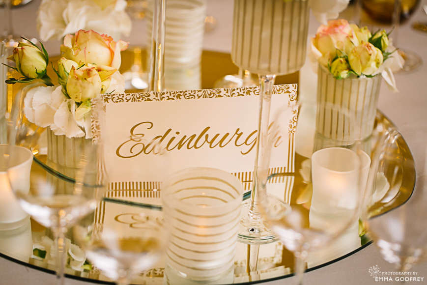 Table settings in cream and peach