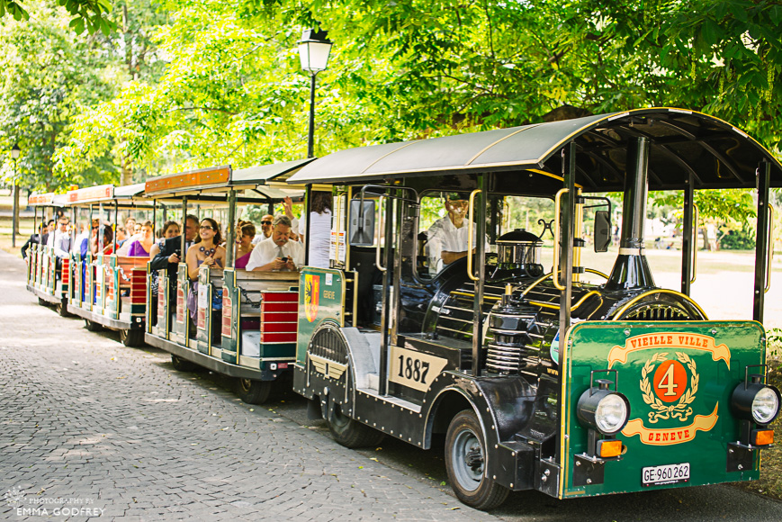 Tourist train for wedding guests in Geneva