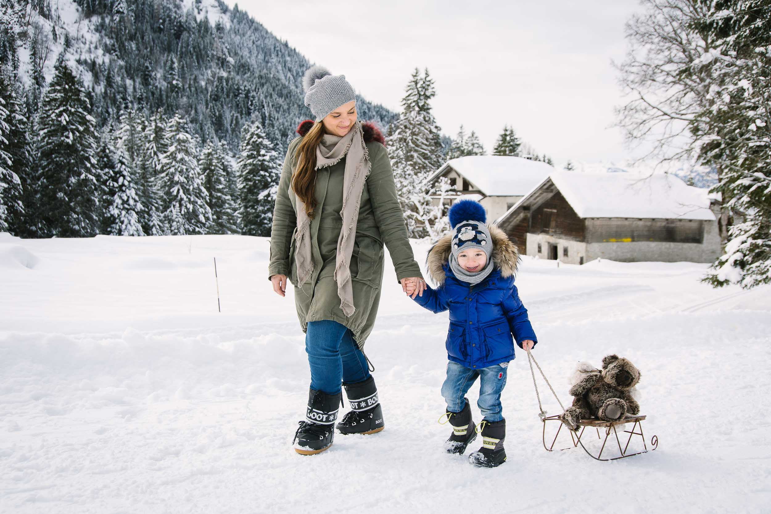 A day out in the mountains is great for sledging, making snowmen and enjoying hot chocolate.