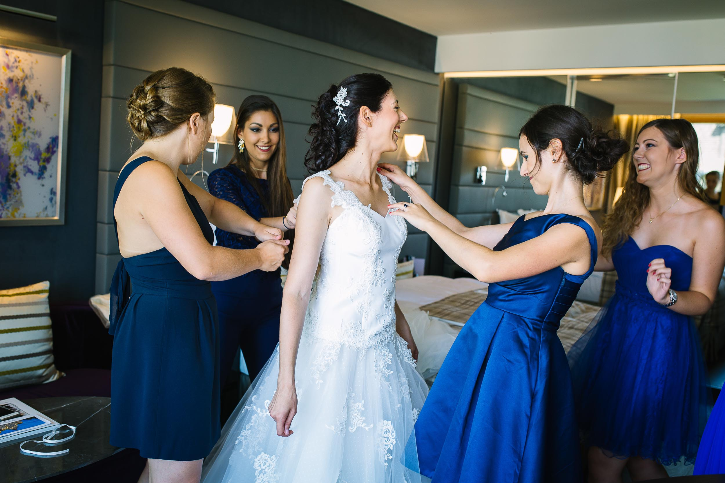 Wedding preparation photo bride girl squad