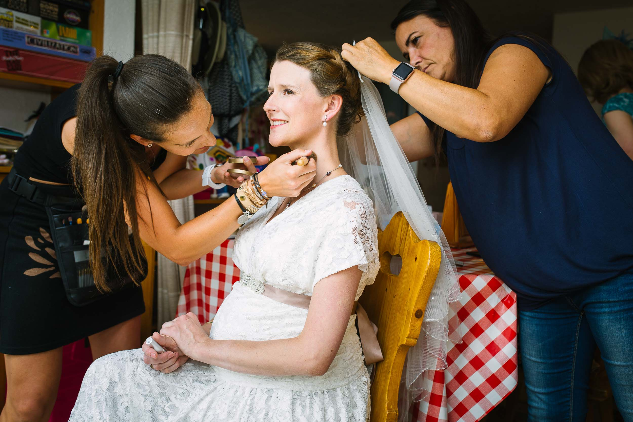 Wedding preparation photo hair and makeup