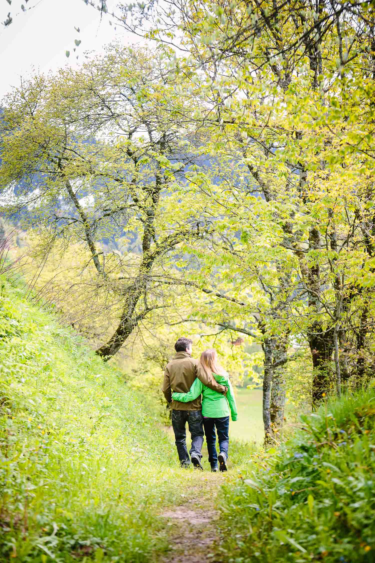 Couple out for a walk in the spring photo
