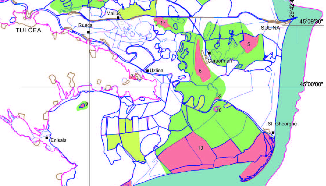 pink areas represent the areas with highest biosphere reserve protection. The island is at the frontier of the strict biosphere reserve