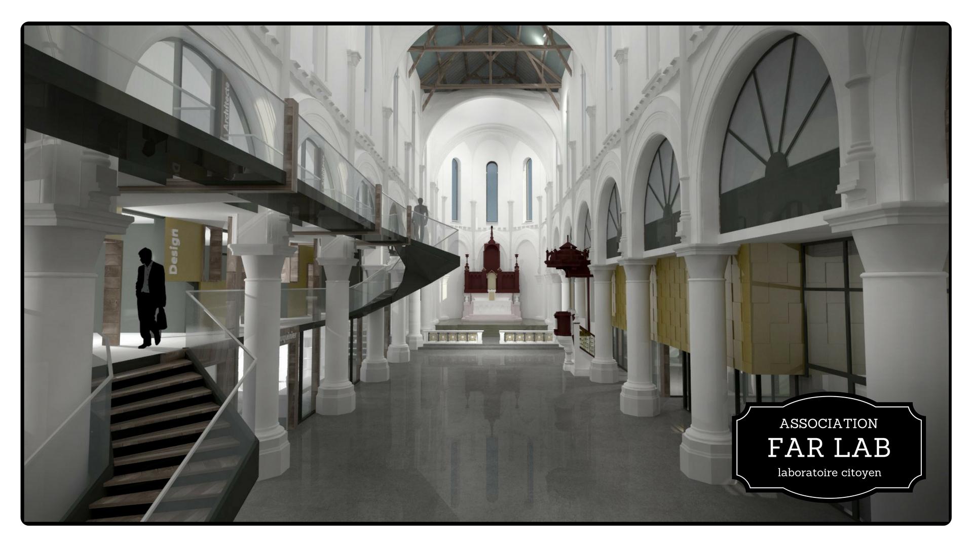 Vue de l'intérieur de l'ancienne église Saint Louis, devenu LE PHARE (image par Maxime Seurin, copyright  Maxime Seurin, architecte designer )