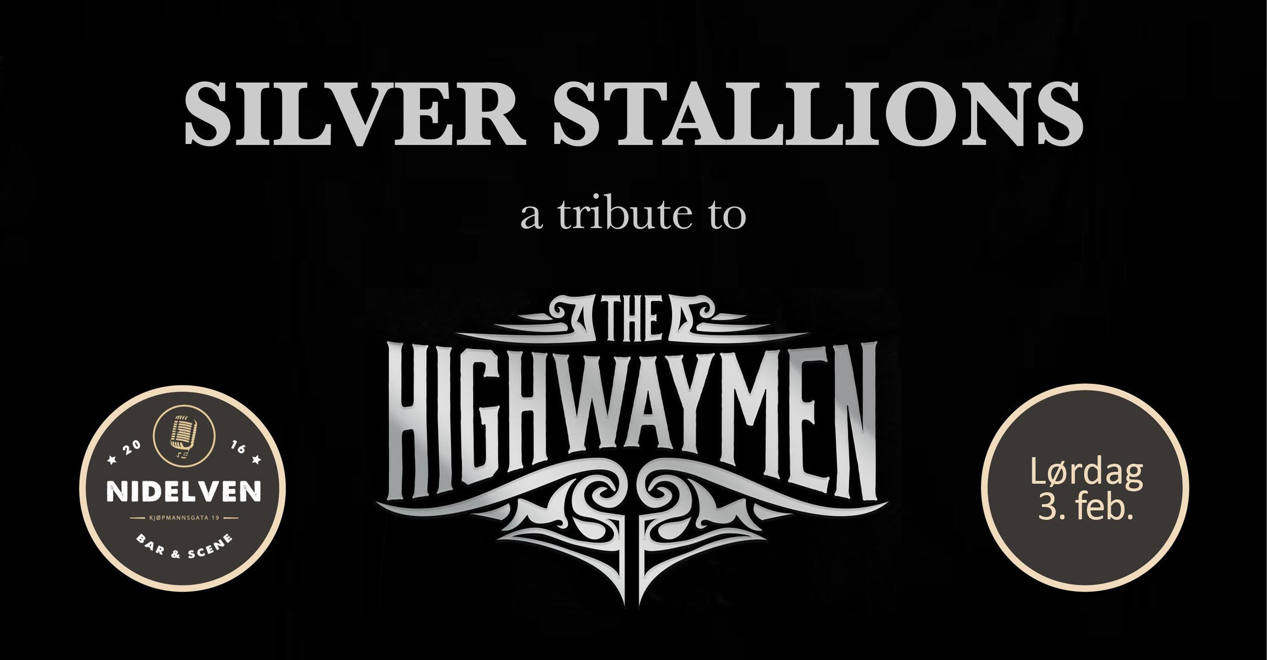 Silver Stallions - A tribute to The HigwaymenLØRDAG 3. FEBRUAR 2018Dørene åpner kl. 21:00.20 år. Bill. kr. 150,-.