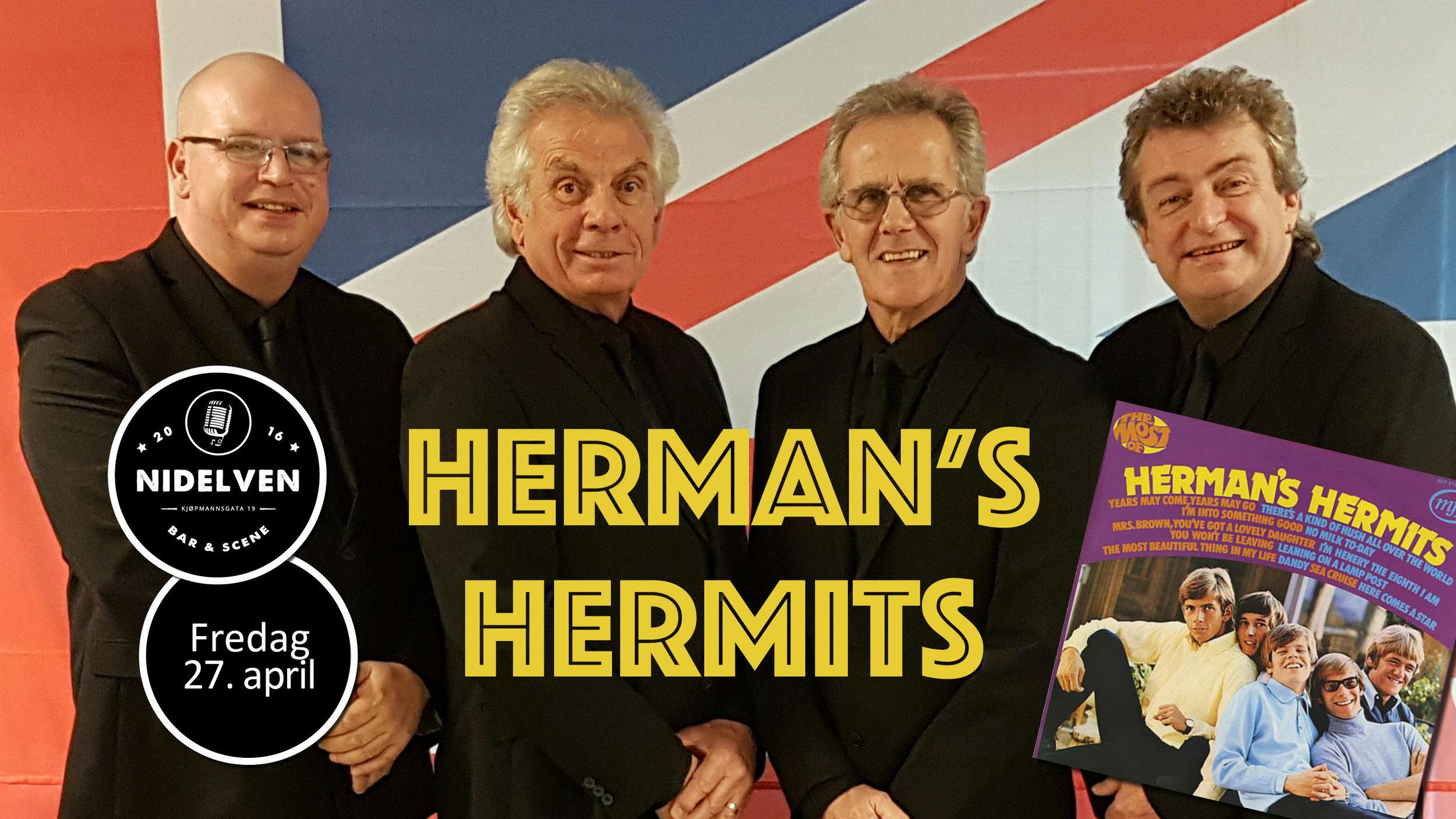Herman's Hermits - FREDAG 27. APRIL 201820 år / Dørene åpner kl. 21.00.