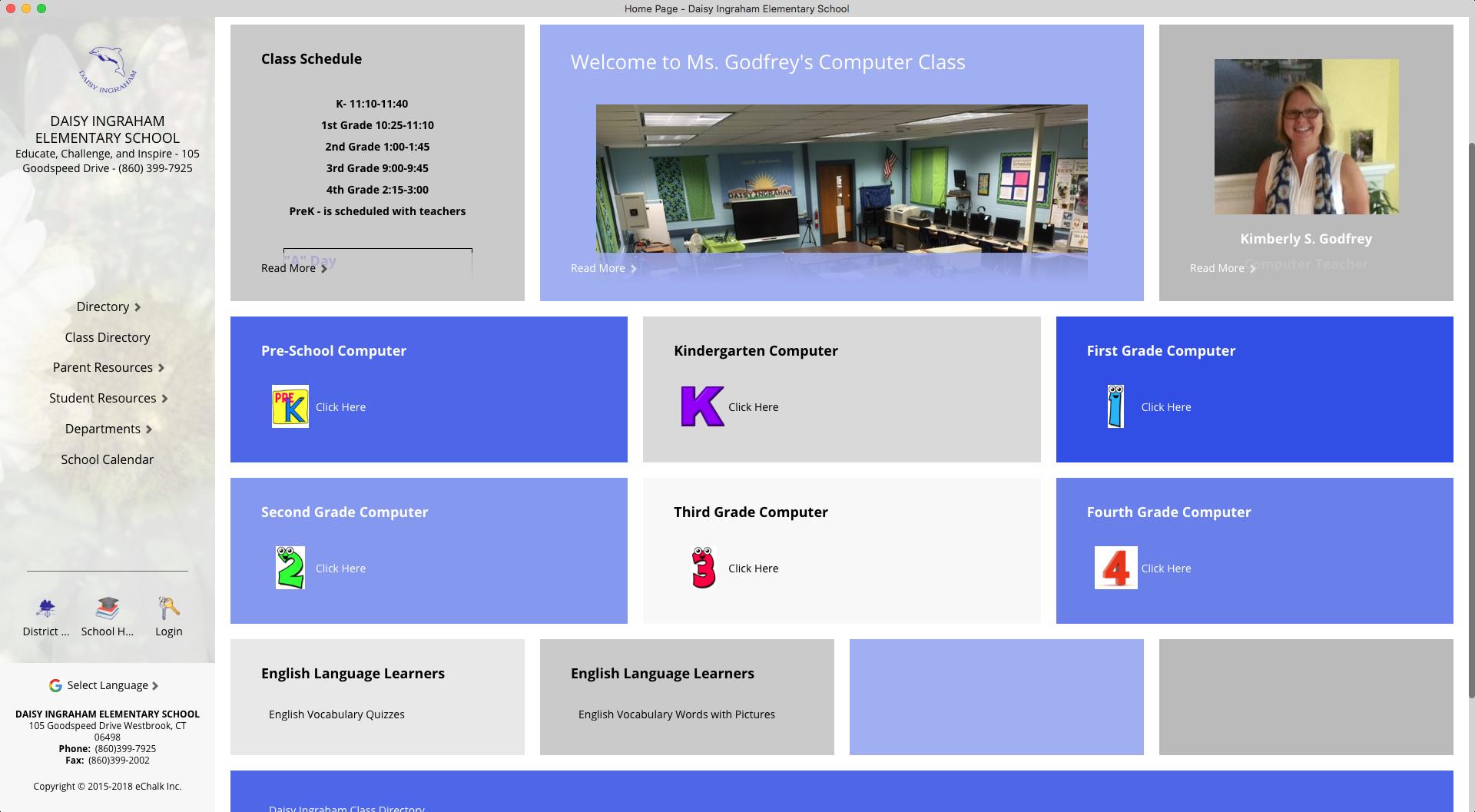 Daisy Ingraham Elementary School Computer Class Webpage