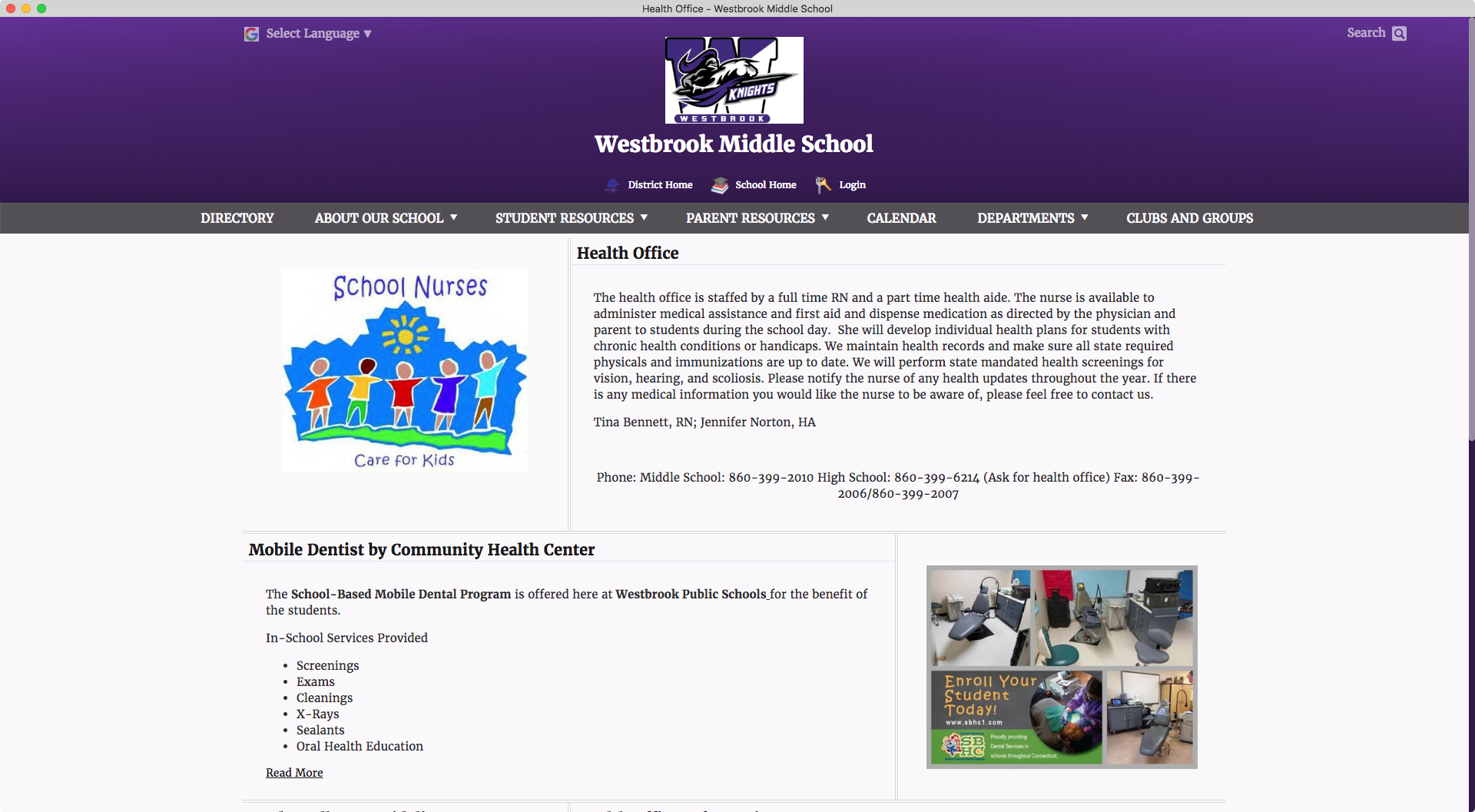 Westbrook Middle School Health Department Webpage