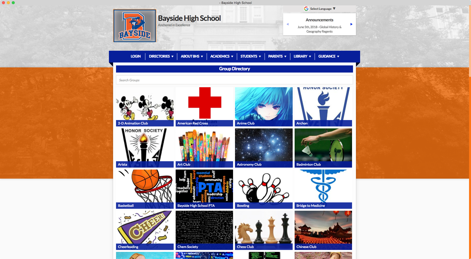Bayside High School Team and Club Directory Webpage