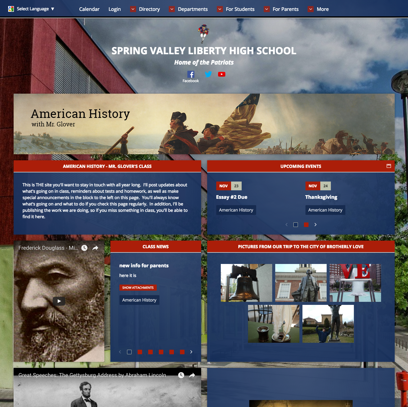 American History Class Webpage