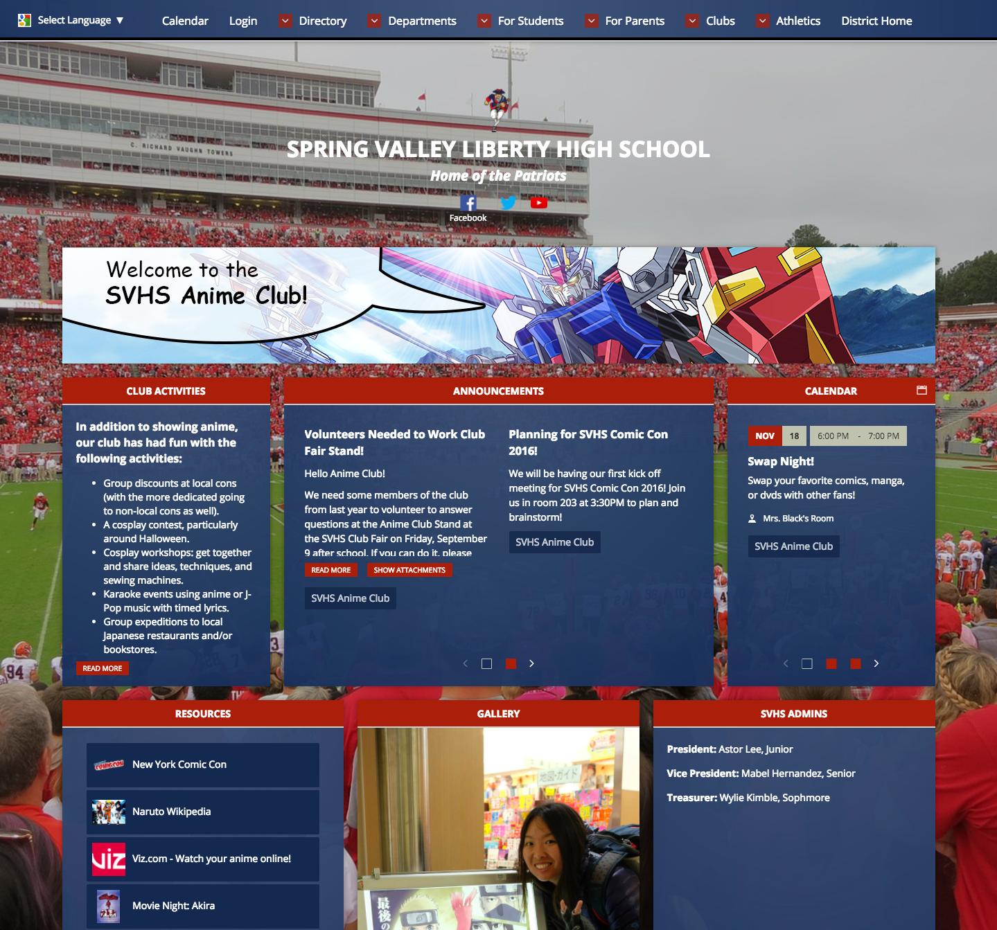 High School Club Web Page