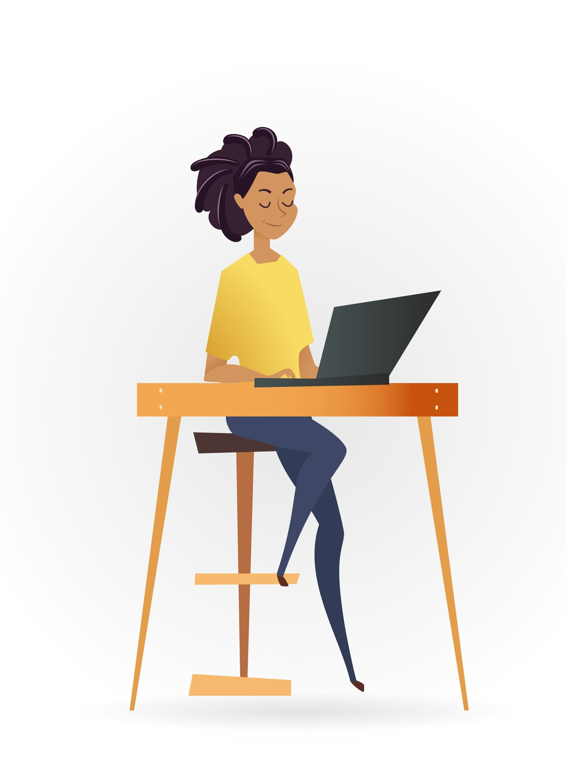 Graphic of Person on Laptop