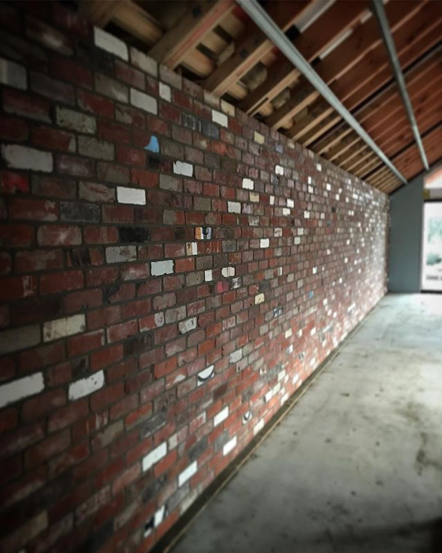 Recycled spine brick wall in our Tongariro project. Bricks from the old Duncan's building on High st, central Christchurch.