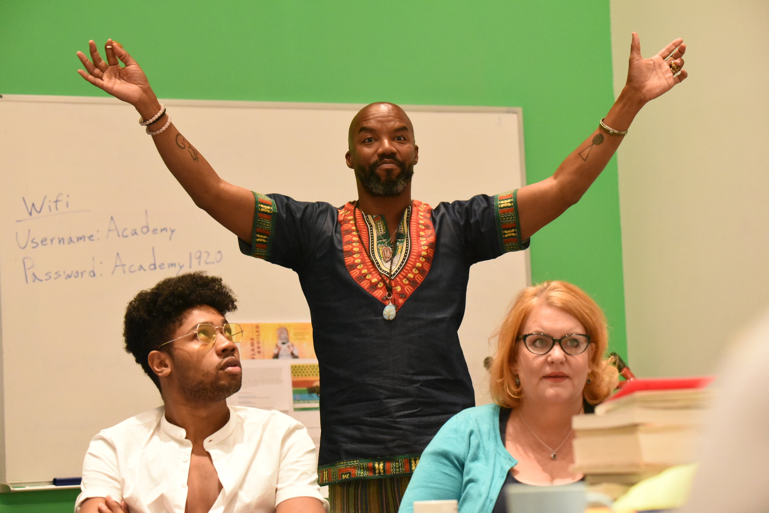 Saxton Jay Walker, performer; Rodney Hicks, playwright/director; Emma Messenger, performer