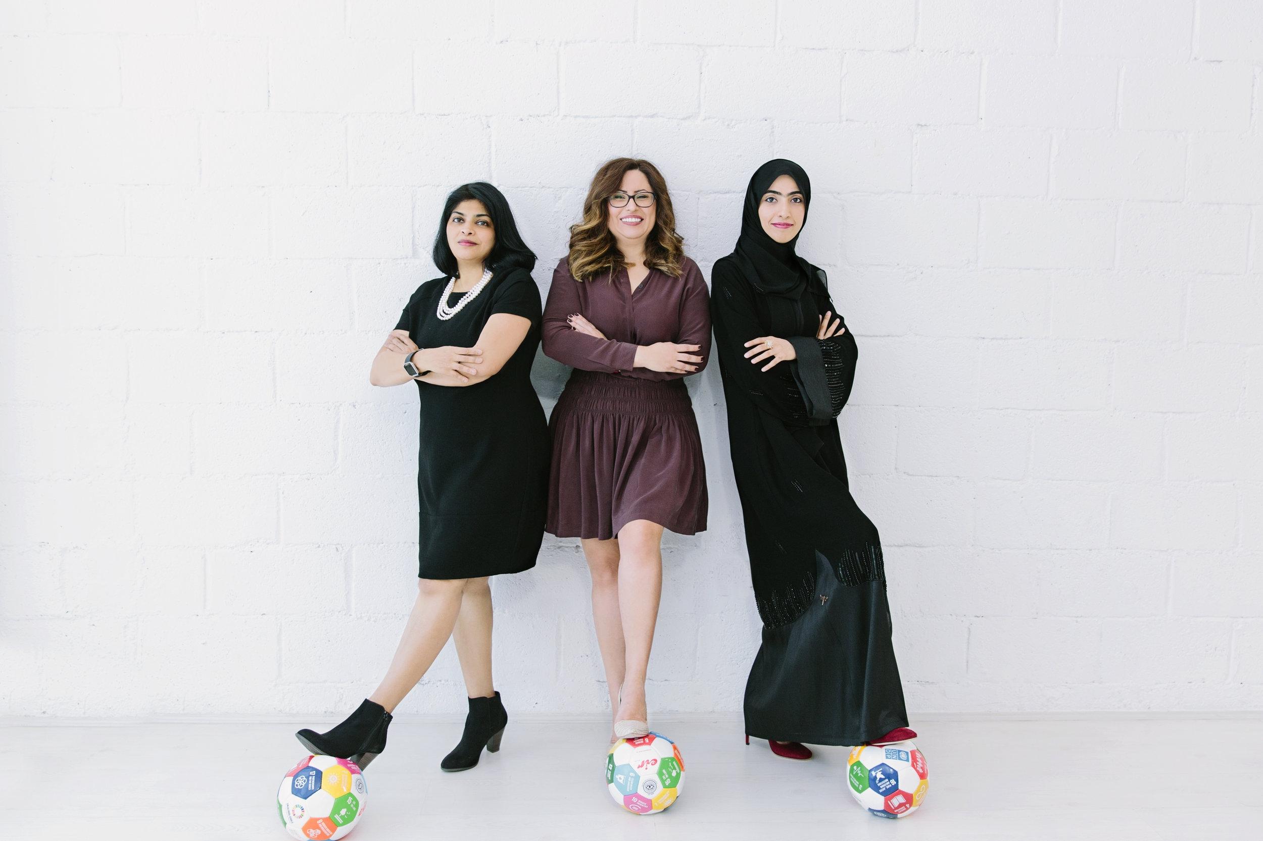 Vineetha Mathew, Dima Maaytah and Noora Mohammad of Dubai based Sustainable Mindz