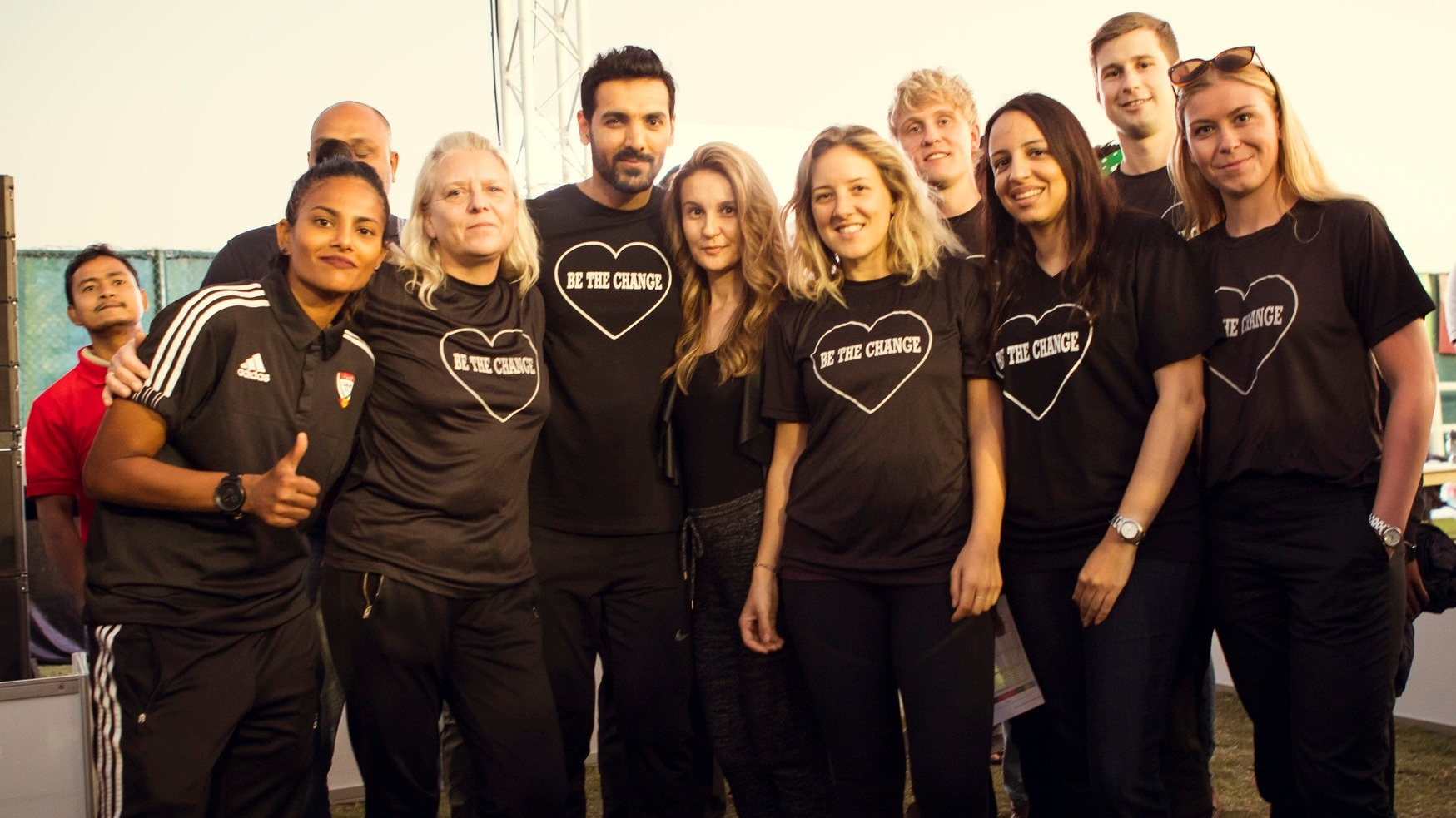 Picture of the volunteer crew, GGWCup UEA ambassadors Houriya Taheri and actor & referee John Abraham at the GGWCup January 19, 2018 in the Sustainable City - the first tournament in the MENA region.