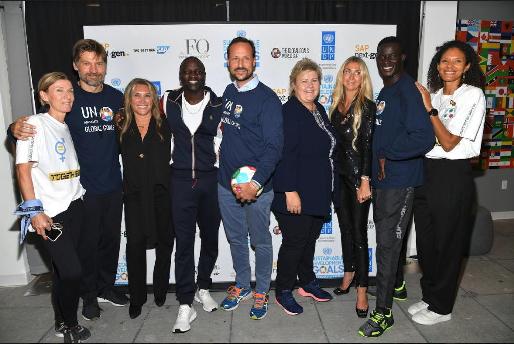 GGWCup NYC 2018: Majken Gilmartin, GGWCup co-founder – Nikolaj Coster-Waldau, actor (Game of Thrones) - Shelley Zalis, CEO, The Female Quotient – Akon, singer & producer – H.R.H. Crown Prince Haakon of Norway – Erna Solberg, Prime Minister of Norway – Ann Rosenberg, SVP, SAP Next-Gen – Victor Ochen, Founder & Executive Director for AYINET – Rikke Rønholt Albertsen, co-founder GGWCup.