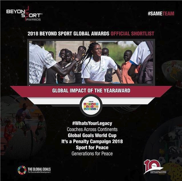 2018 NEW YORK - Global Goals World Cup is shortlisted among 400 entries for Global Impact of the Year Award by Beyond Sport.