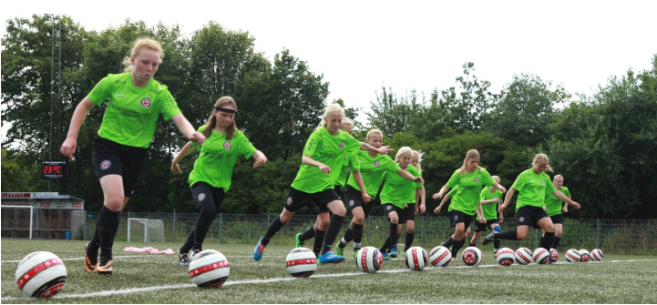 Girls used Eir balls at the Elite Football Camp International in Copenhagen. Photo Lars Runge