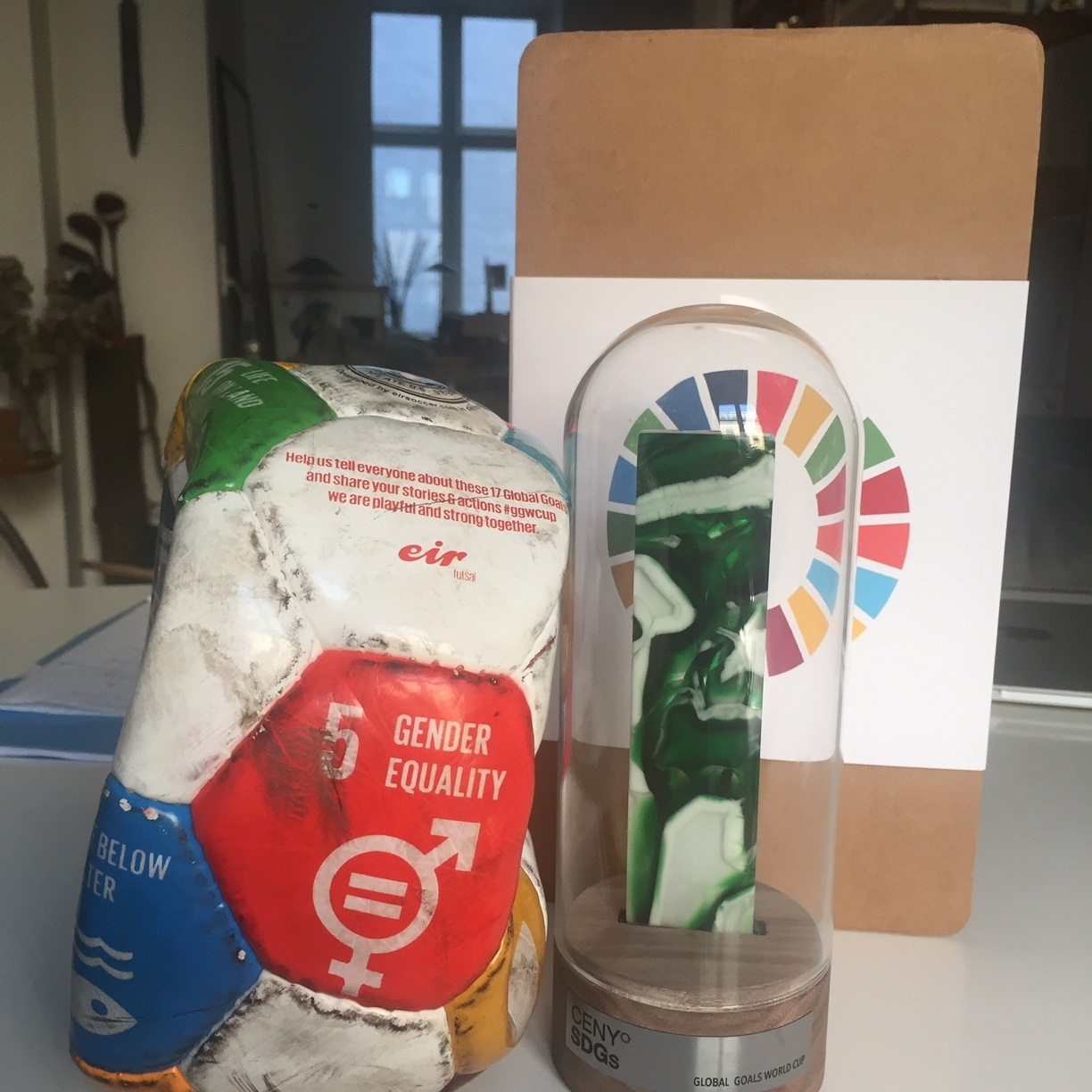 SDG Award Gala & Award - The Czech Republic and the Association of Social Responsibility honored us with a special SDG Award for our work for the Global Goals.The trophy is design by Linda Matějovská @qdesigners.co (IG) and made out of recycled glass. The ball is one of the GGWCup Prague game balls.