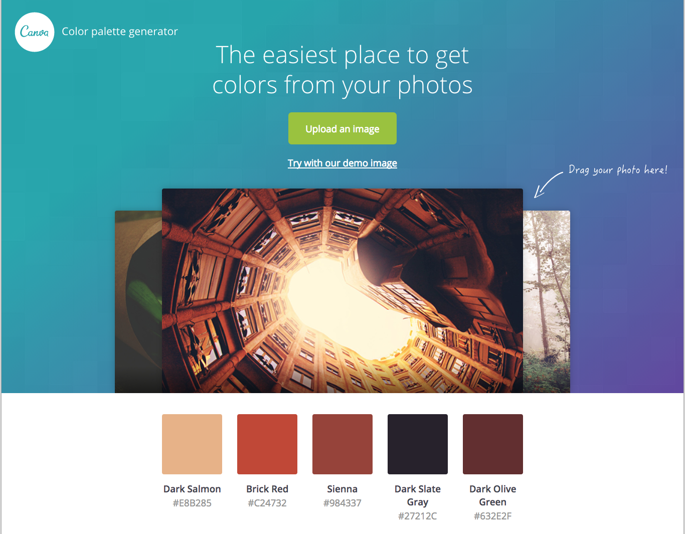 Canva's Color Palette Generator Tool is fun and easy to use.