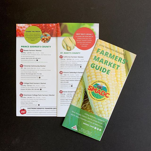 I love designing for print - there's something about seeing a design on paper and being able to hold it that makes me happy. . Farmers' Market season is gearing up and it won't be long until things are in full swing! . This is a guide I did for @southern_maryland_ag that showcases southern Maryland area farmers' markets. It's available now and you can also get it at smadc.com . The other guide I worked on for them this spring, the Southern Maryland Meat & Seafood Guide will be out in a couple weeks! . . . . #lovemdmarkets #graphicdesign #printdesign #printdesigner #graphicdesigner #printinspiration #brochure #brochuredesign #marketing #marketingagency #nonprofitmarketing #farmmarketing #agmarketing #agriculturemarketing #farmersmarket #farmersmarkets #southernmaryland #allagmedia