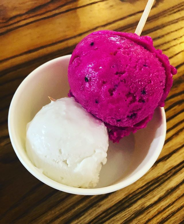 Dragon fruit and coconut ice cream FTW. I've eaten my weight in tropical fruits this week. #bali