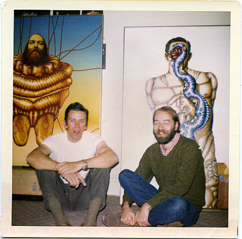 Ed Paschke and Robert Lostutter with portraits of one another (Collection of Sharon Paschke)