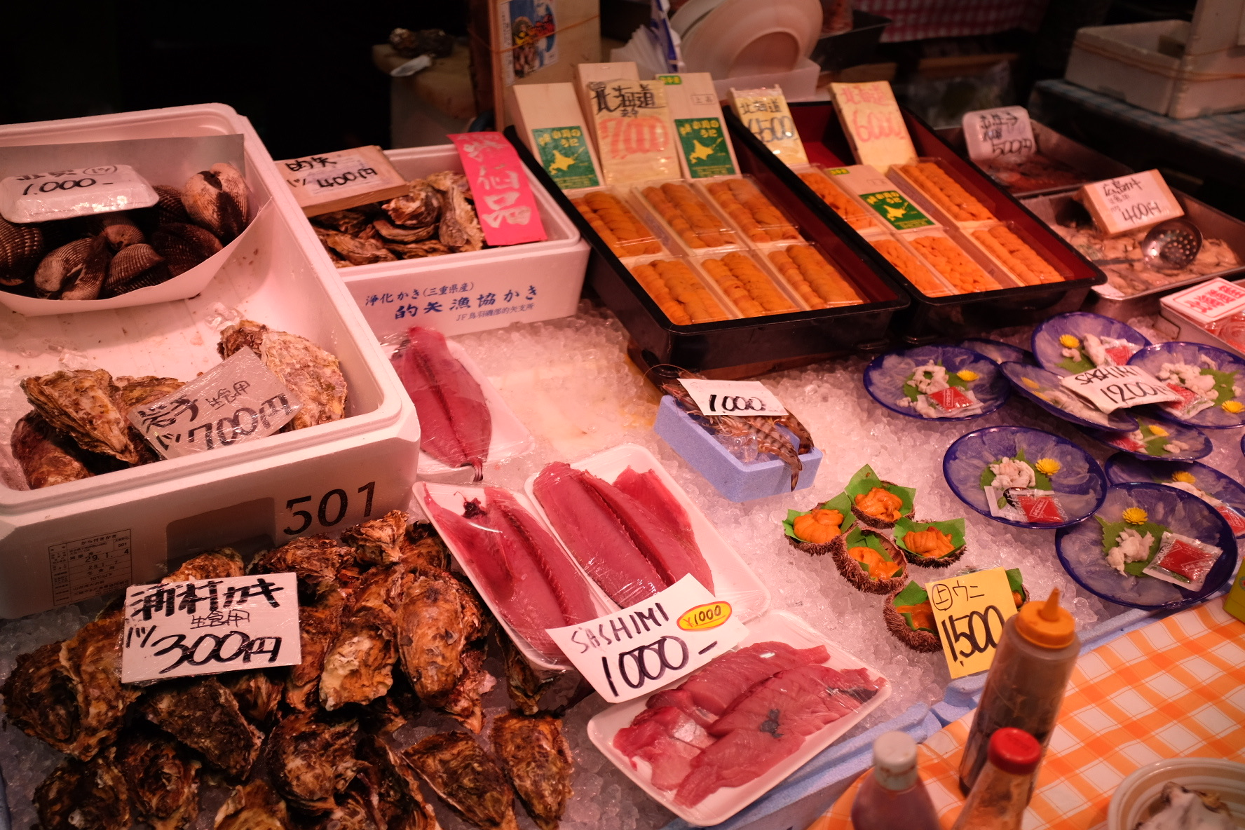 One of the many markets in Osaka. You can eat all these seafood right on the spot. Some memorable ones include fugu sashimi, uni in shell, and shirako (fish sperm).