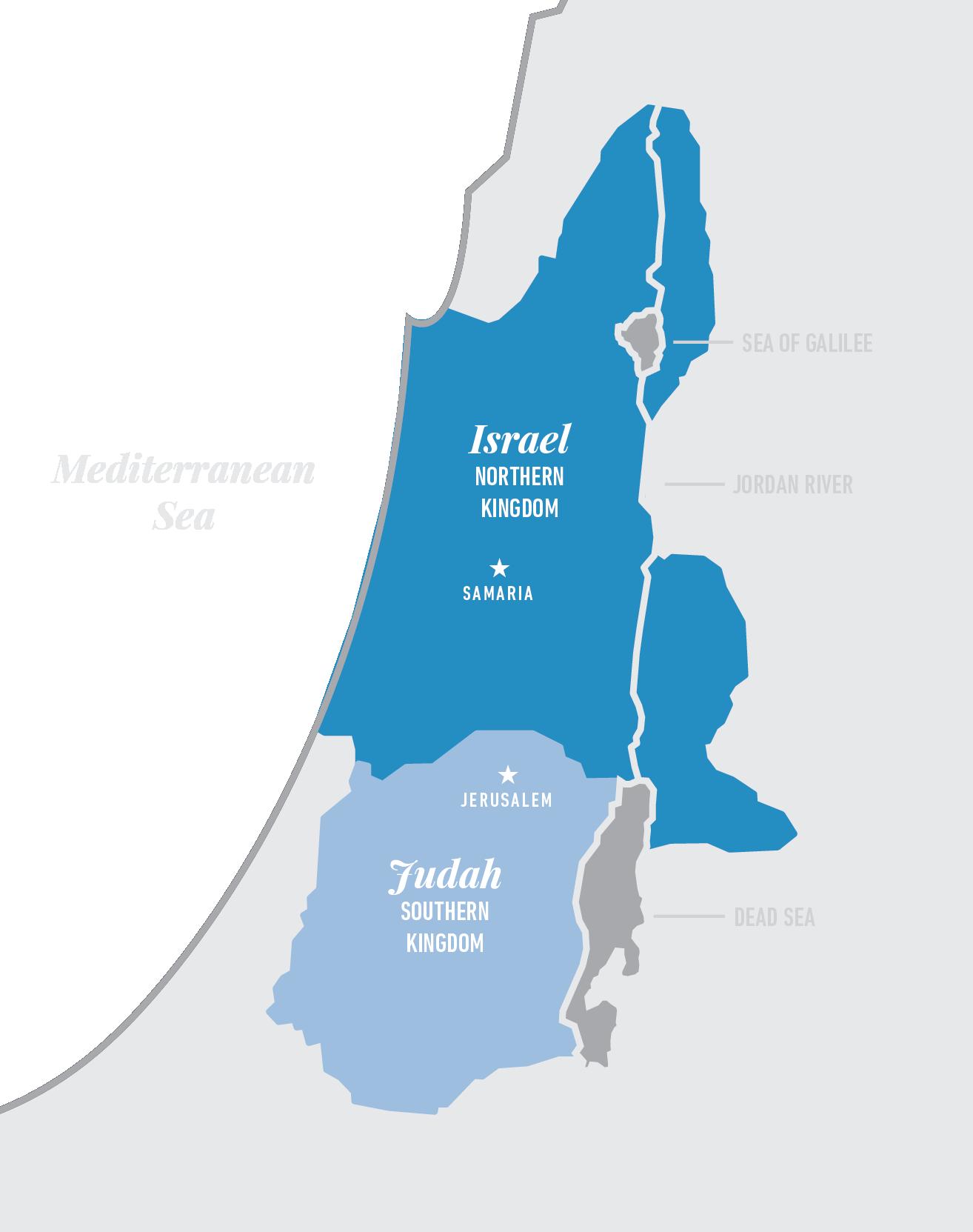 Ten tribes make up the northern kingdom of Israel: Asher, Dan, Ephraim, Gad, Issachar, Manesseh, Naphtali, Reuben, Simeon, Zebulun. Two tribes make up the southern kingdom of Judah: Judah and Benjamin.