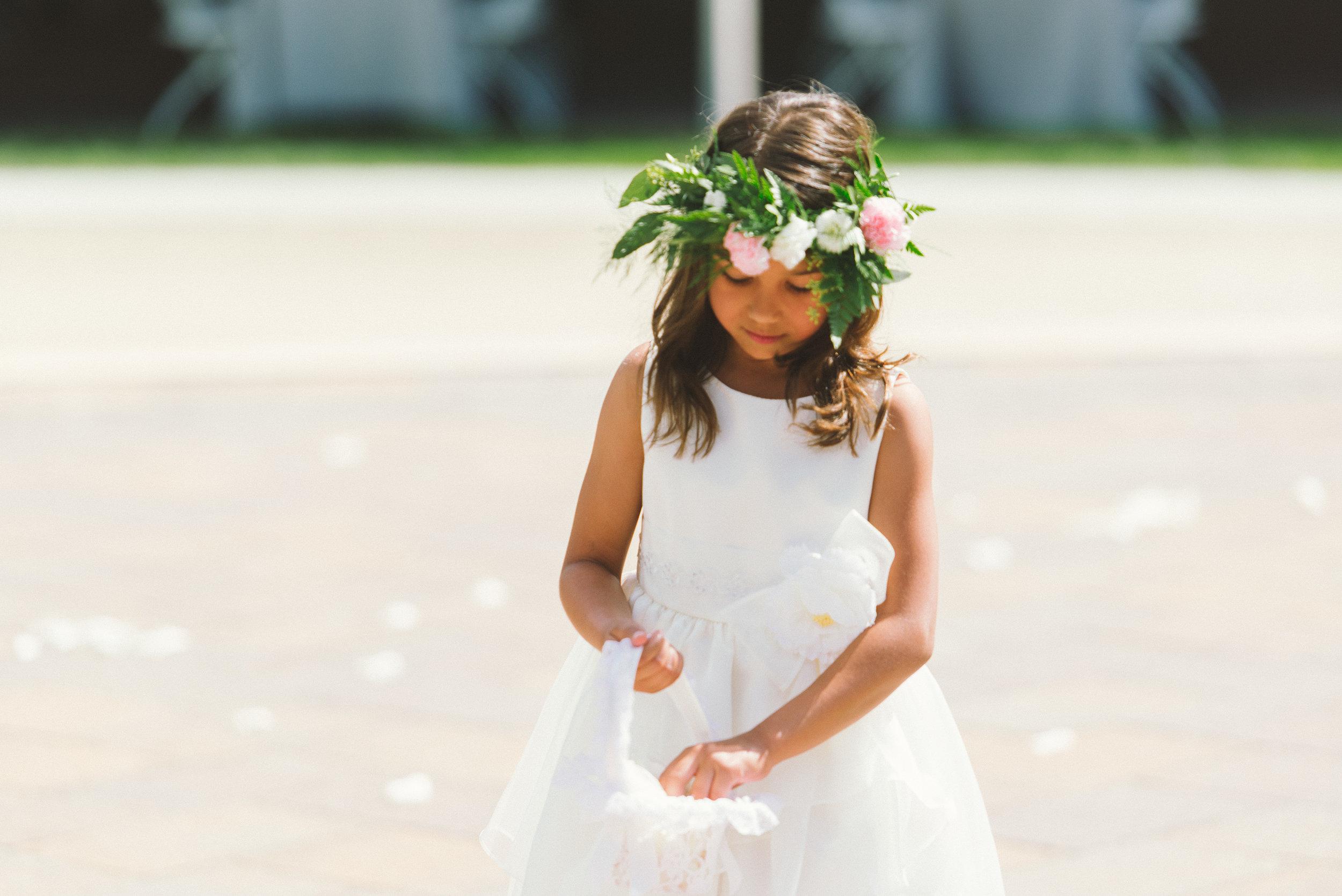 Cute flower girl with flower crown
