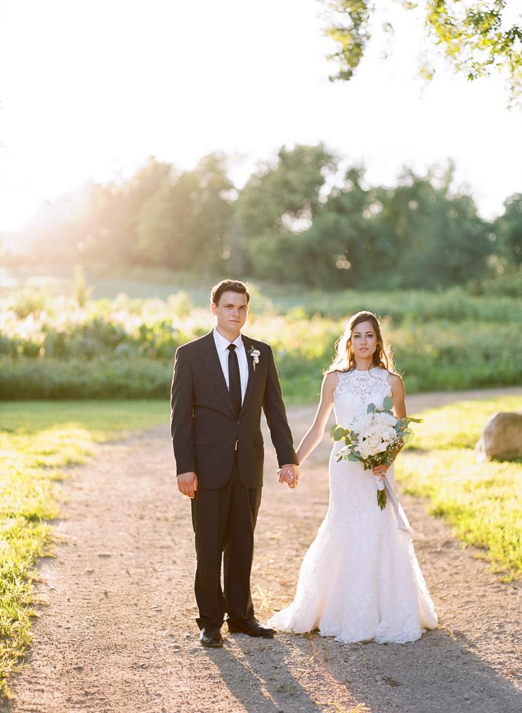 Garden wedding | Bride and Groom portraits at sunset