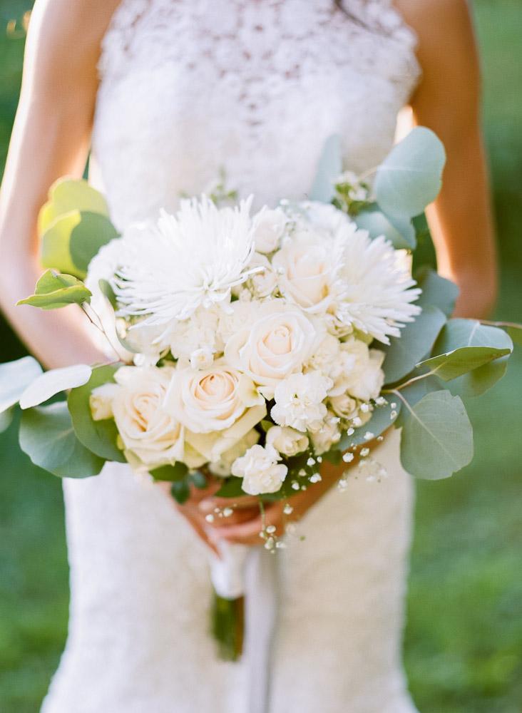 White rose and eucalyptus wedding bouquet